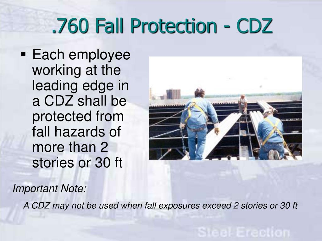 Each employee working at the leading edge in a CDZ shall be protected from fall hazards of more than 2 stories or 30 ft
