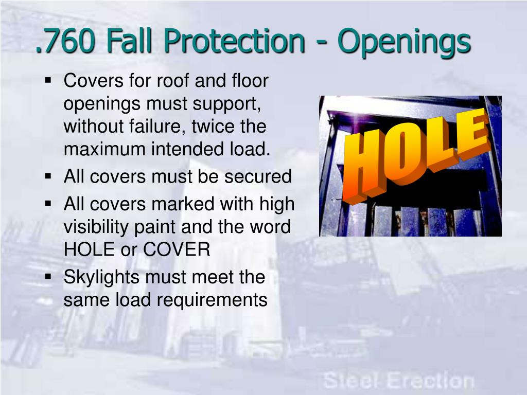 Covers for roof and floor openings must support, without failure, twice the maximum intended load.