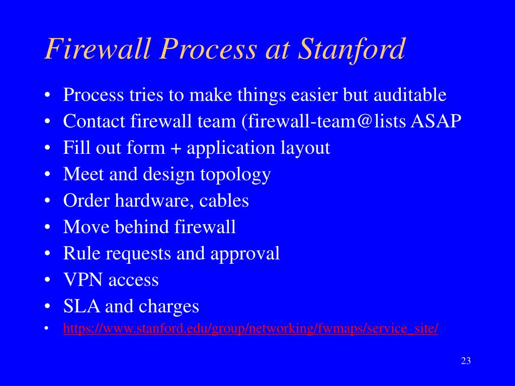 Firewall Process at Stanford