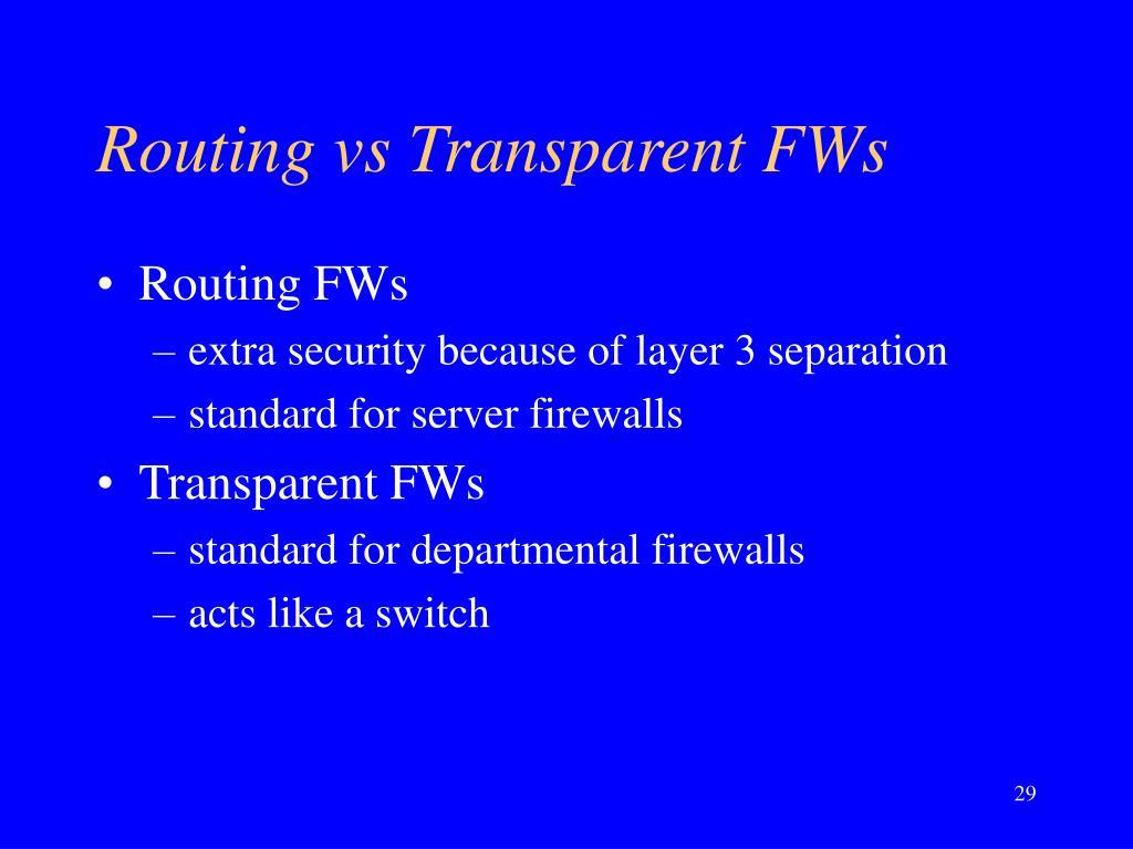 Routing vs Transparent FWs