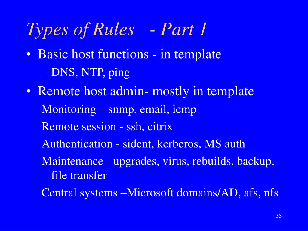 Types of Rules	- Part 1