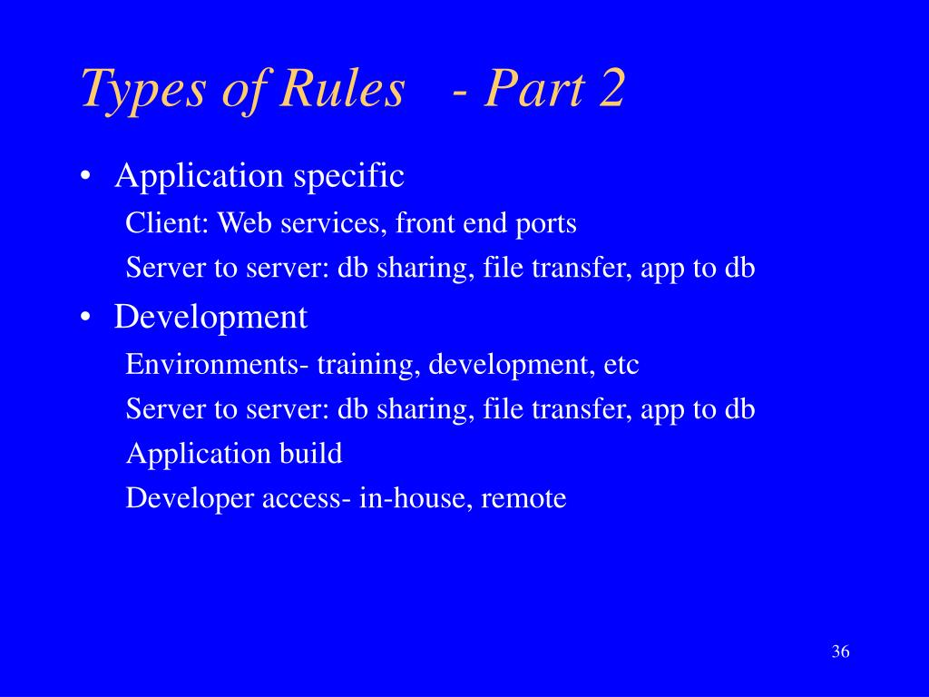 Types of Rules	- Part 2