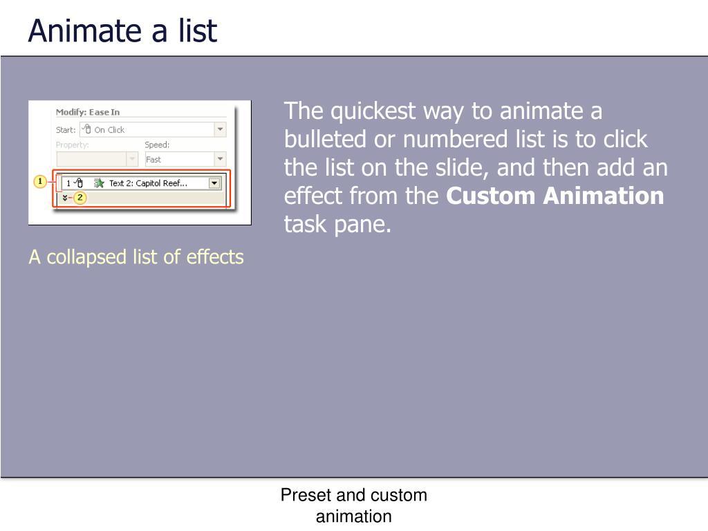 Animate a list