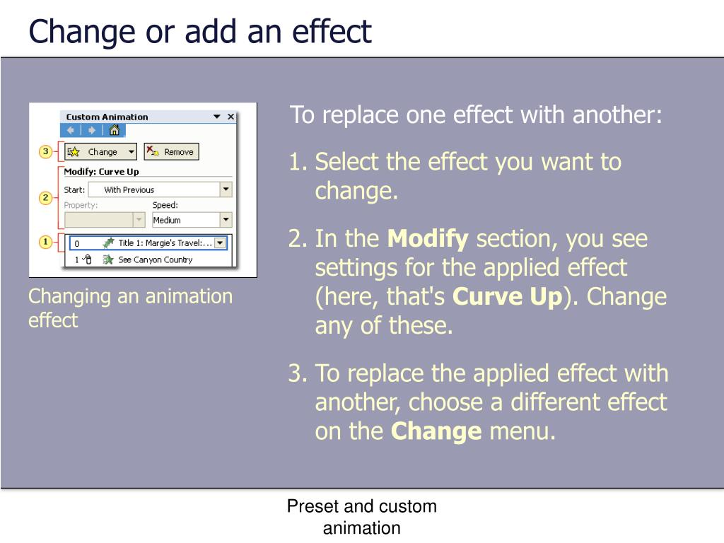 Change or add an effect