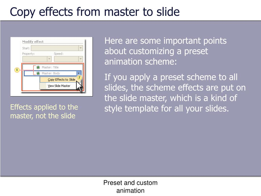 Copy effects from master to slide