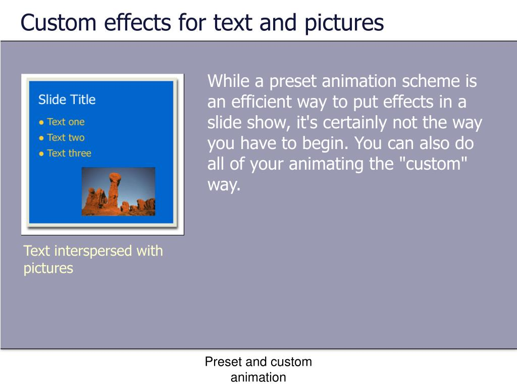 Custom effects for text and pictures