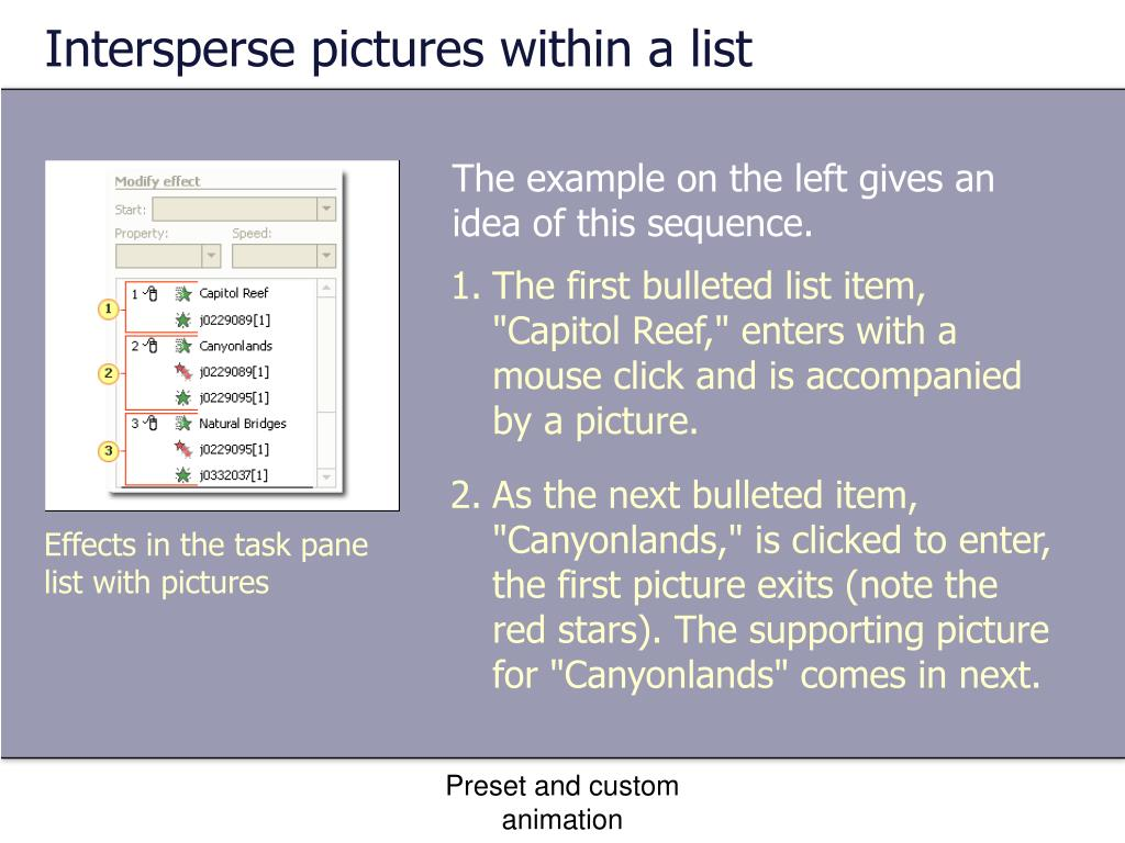 Intersperse pictures within a list
