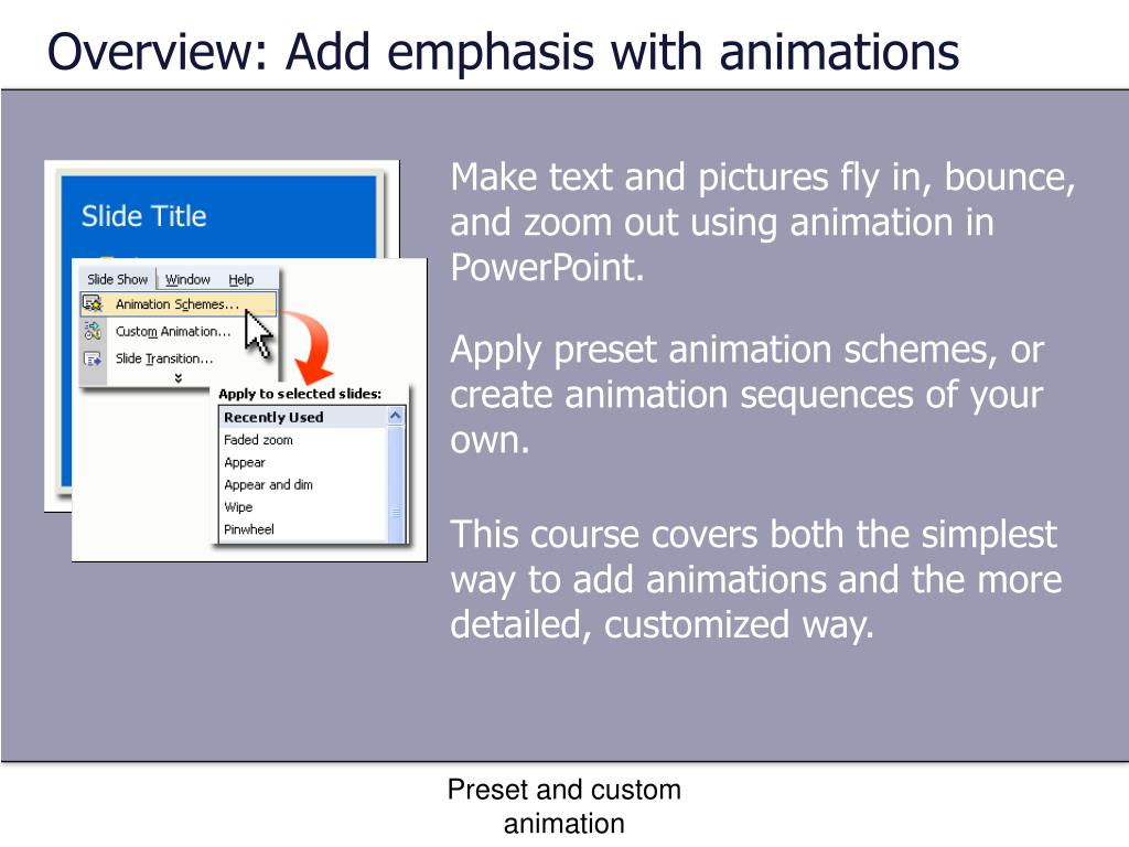 Overview: Add emphasis with animations
