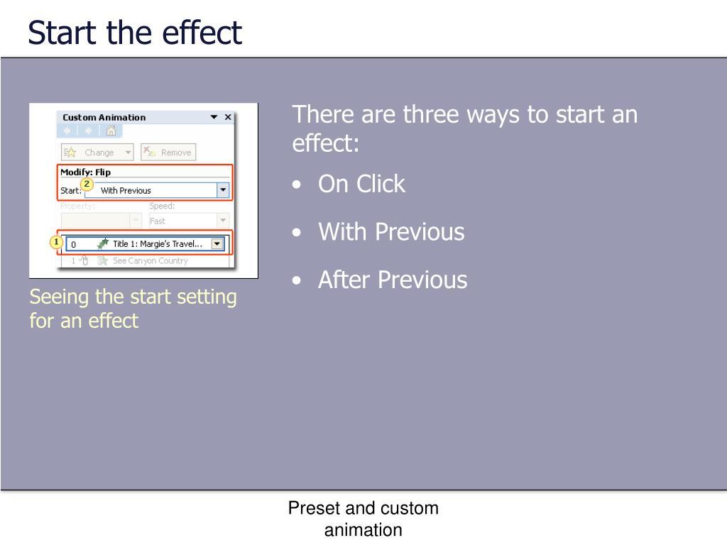 Start the effect