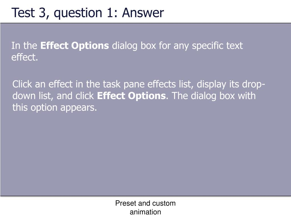 Test 3, question 1: Answer