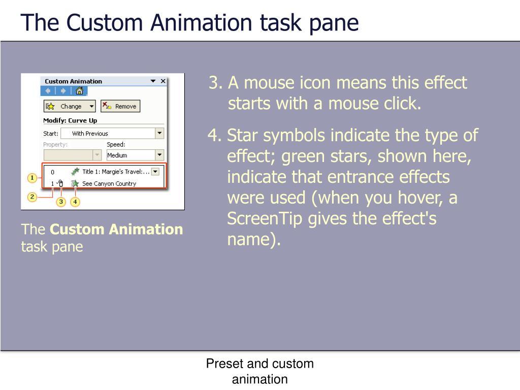 The Custom Animation task pane