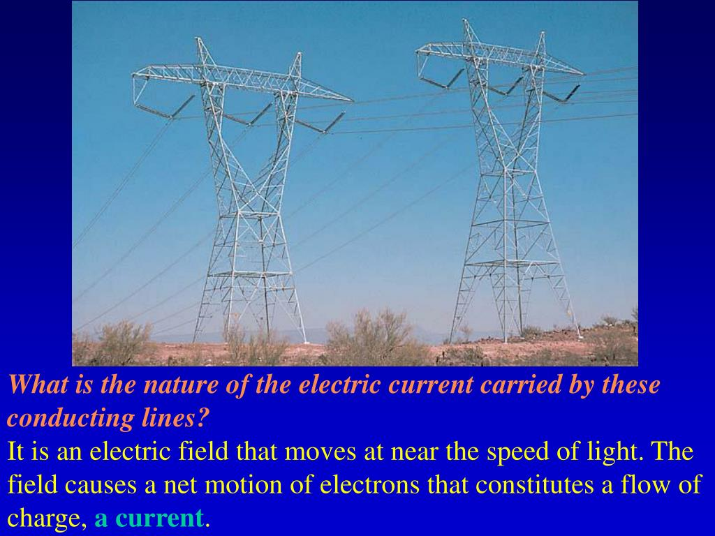 What is the nature of the electric current carried by these conducting lines?