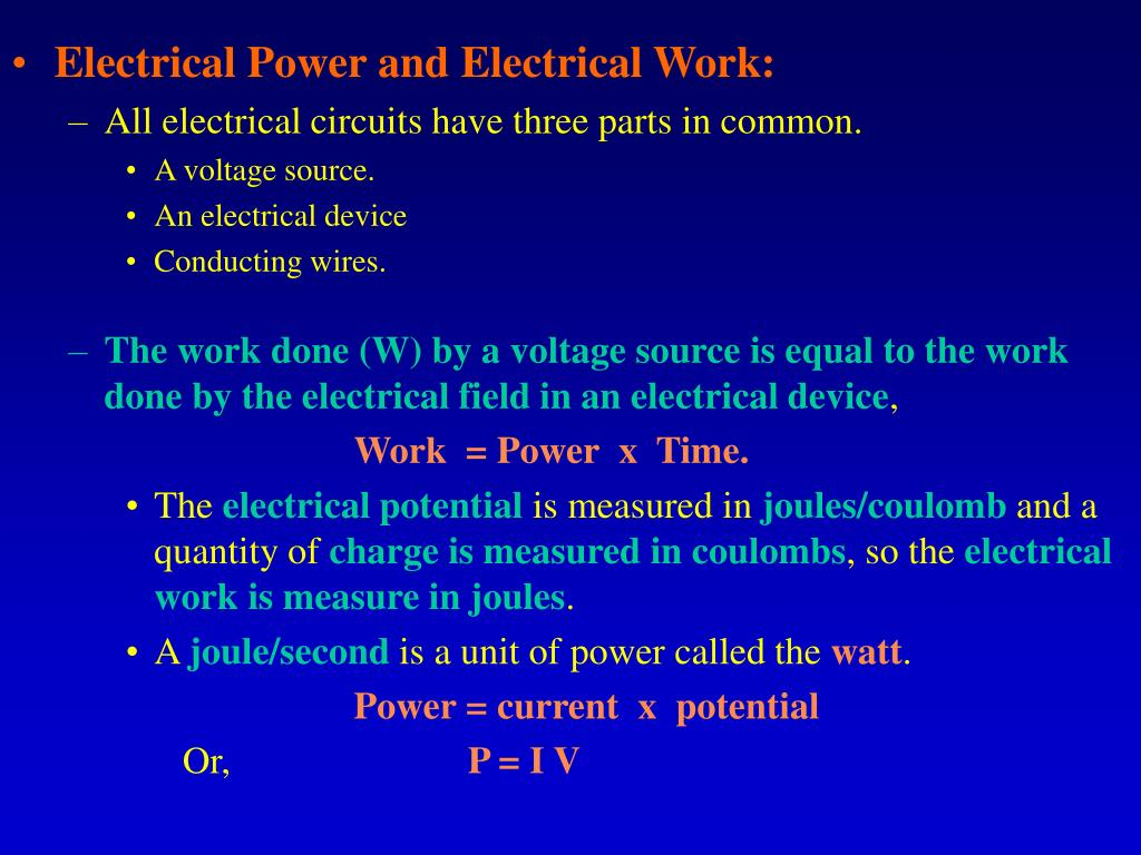Electrical Power and Electrical Work: