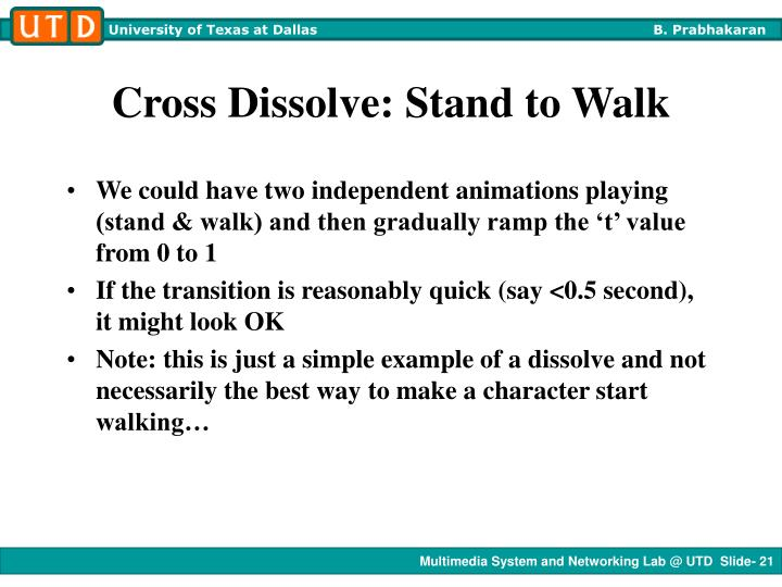 Cross Dissolve: Stand to Walk