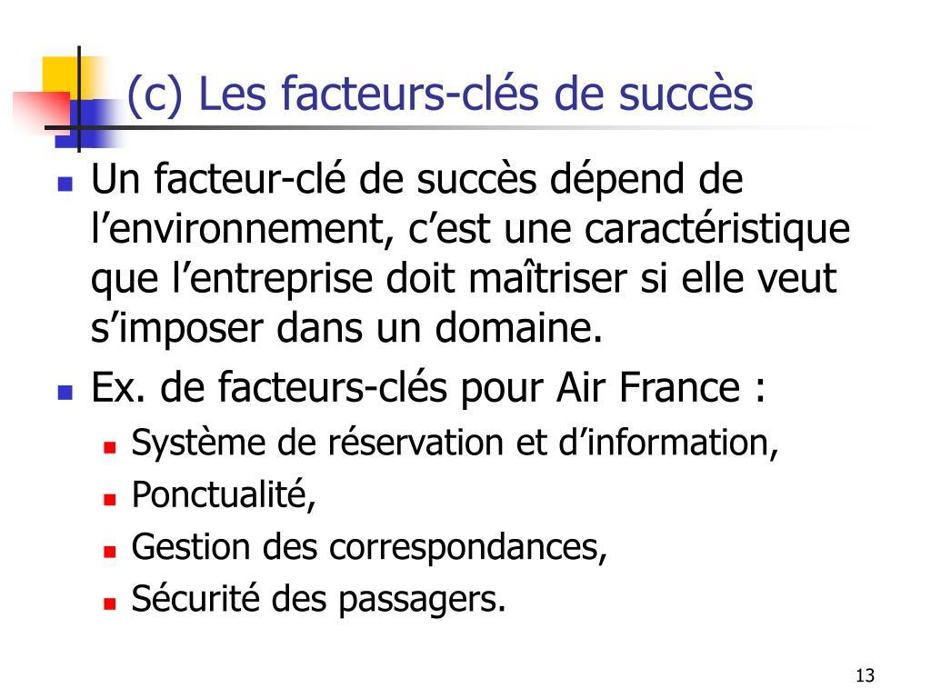 (c) Les facteurs-clés de succès