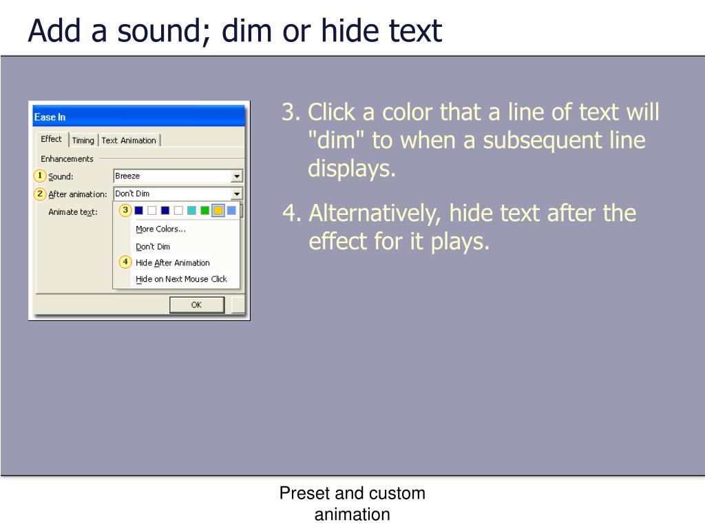 Add a sound; dim or hide text