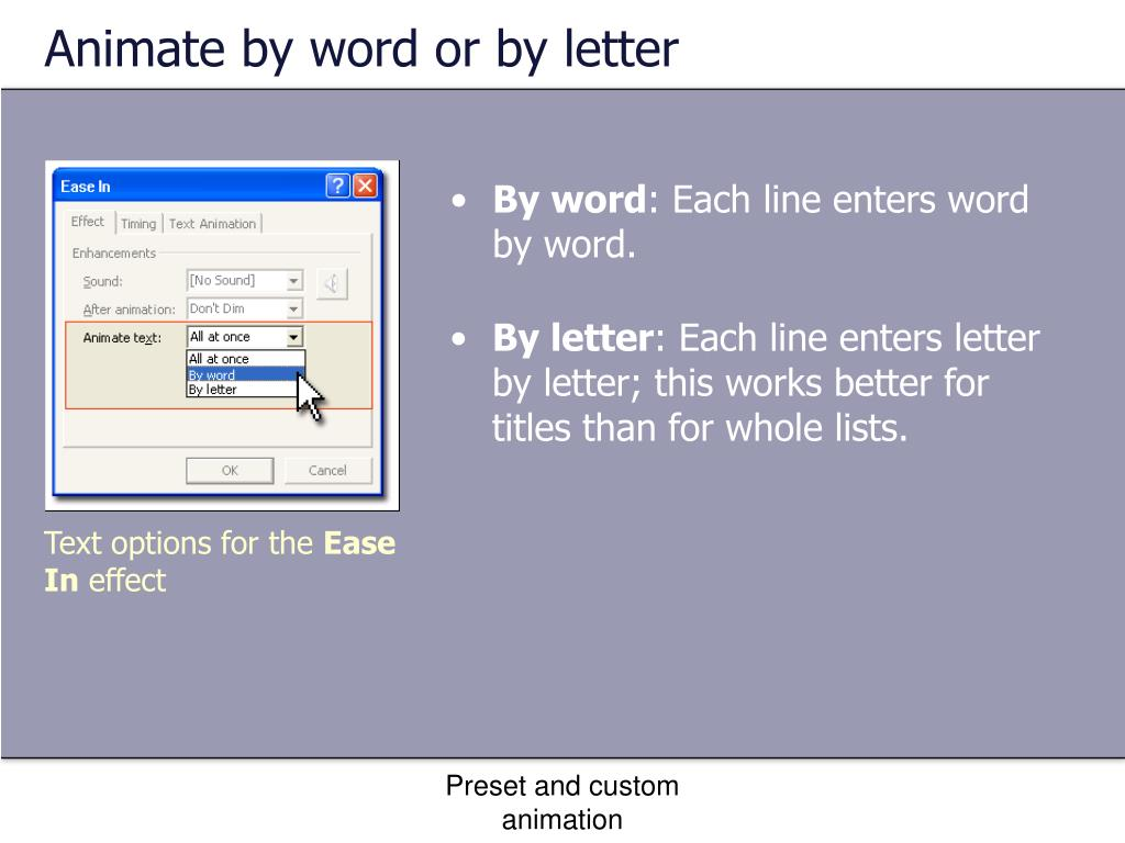 Animate by word or by letter
