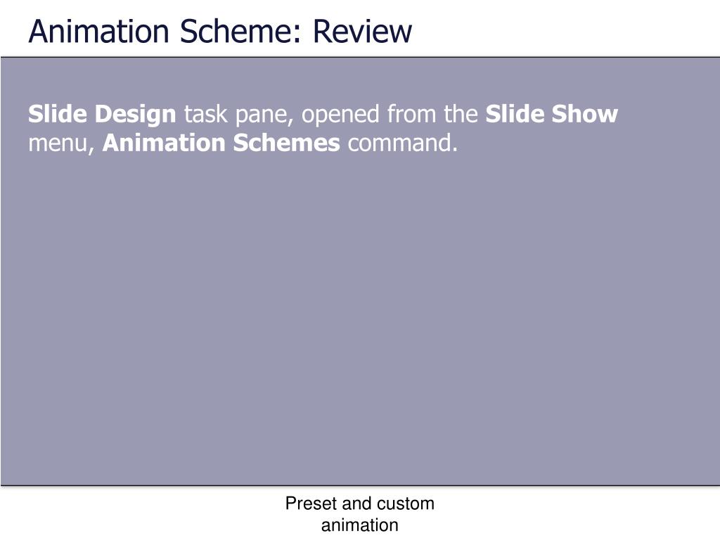 Animation Scheme: Review