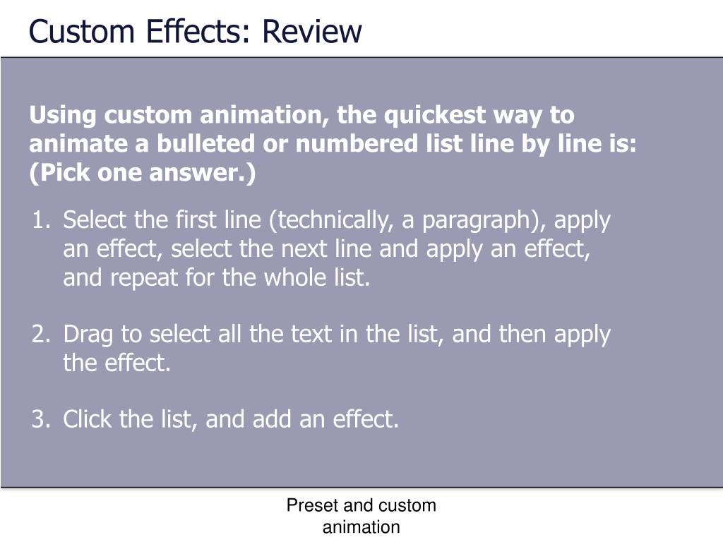 Custom Effects: Review