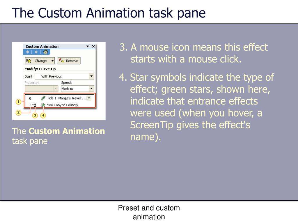 The Custom Animation task pane