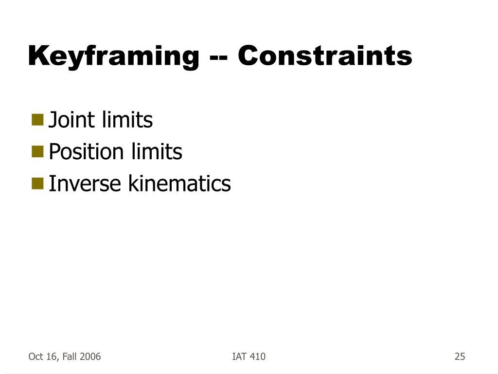 Keyframing -- Constraints