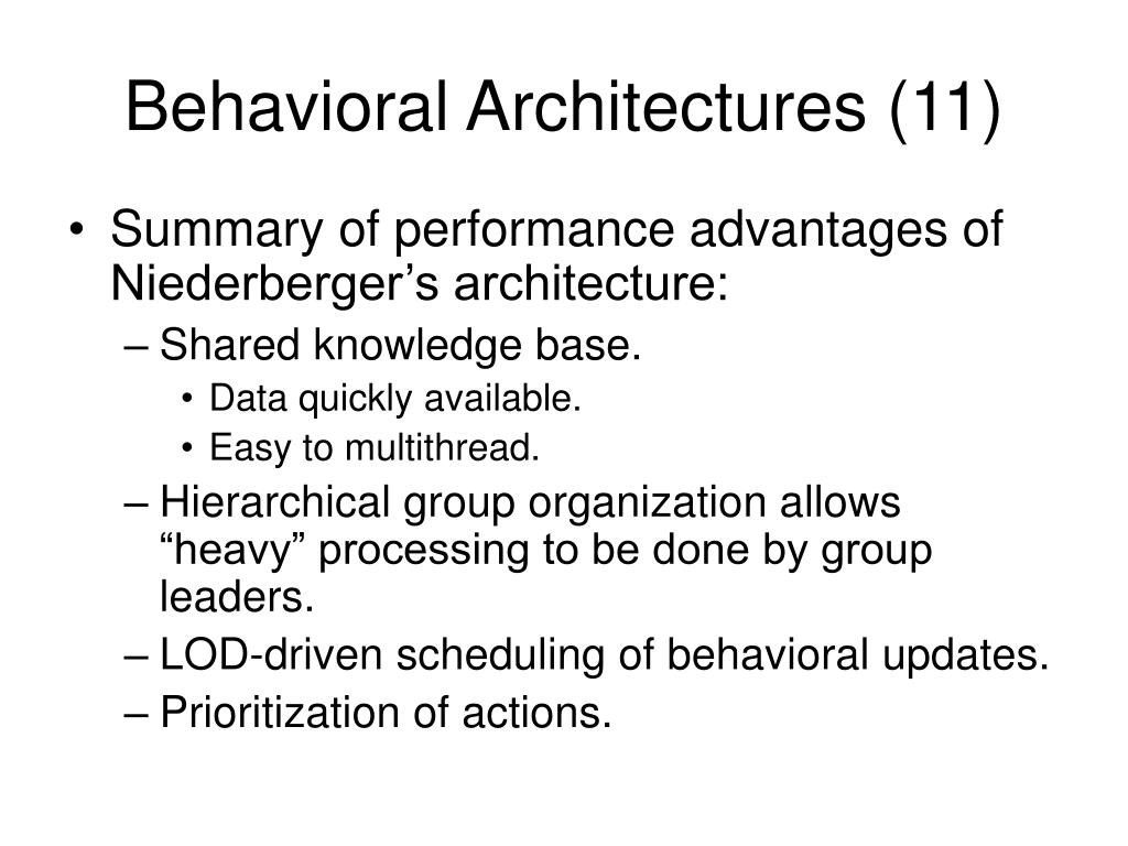 Behavioral Architectures (11)