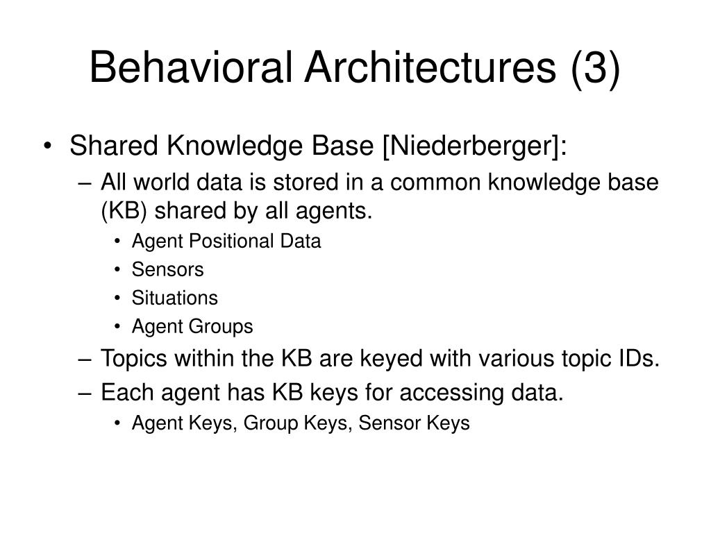 Behavioral Architectures (3)