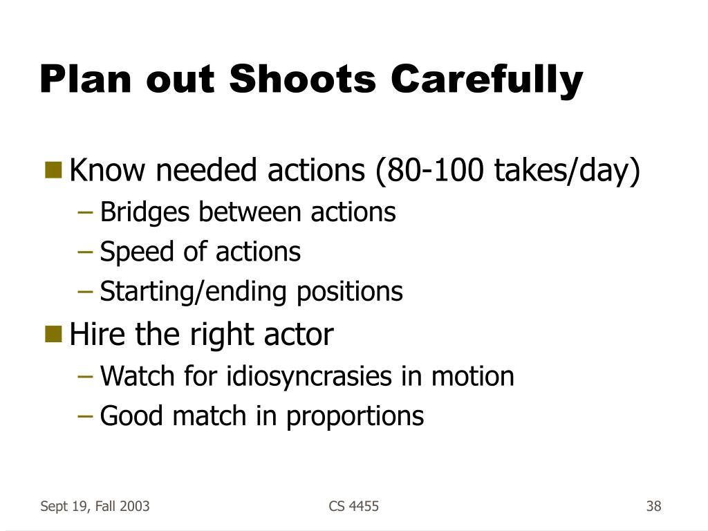 Plan out Shoots Carefully