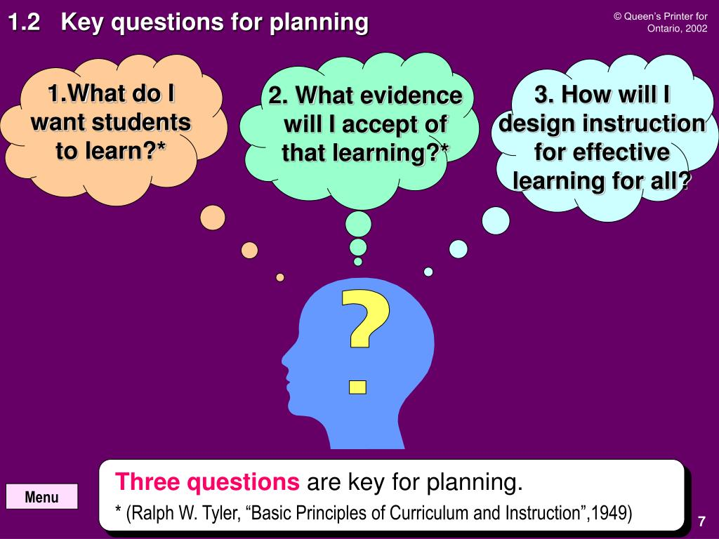 1.2   Key questions for planning
