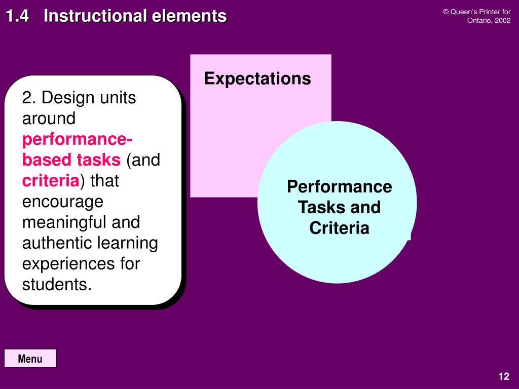 1.4   Instructional elements