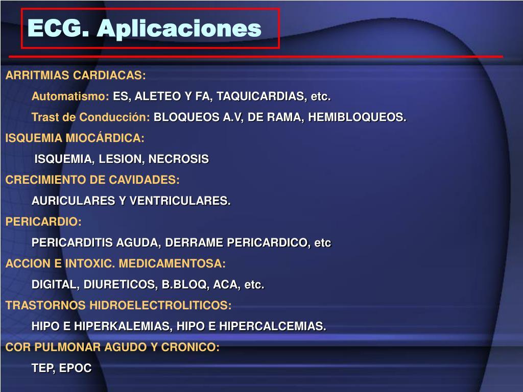 ECG. Aplicaciones