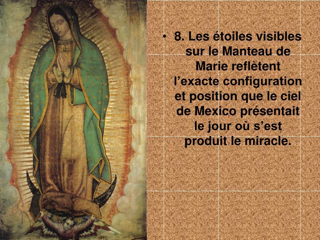 8. Les étoiles visibles sur le Manteau de Marie reflètent l'exacte configuration et position que le ciel de Mexico présentait le jour où s'est produit le miracle.
