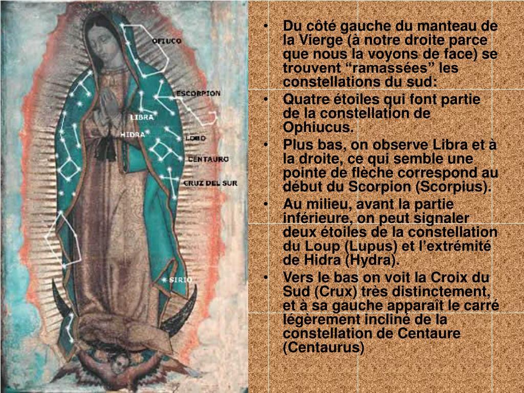 """Du côté gauche du manteau de la Vierge (à notre droite parce que nous la voyons de face) se trouvent """"ramassées"""" les constellations du sud:"""