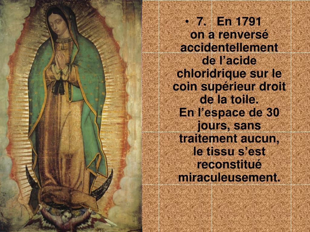 7.   En 1791              on a renversé accidentellement      de l'acide chloridrique sur le coin supérieur droit de la toile.               En l'espace de 30 jours, sans traitement aucun,     le tissu s'est reconstitué miraculeusement.