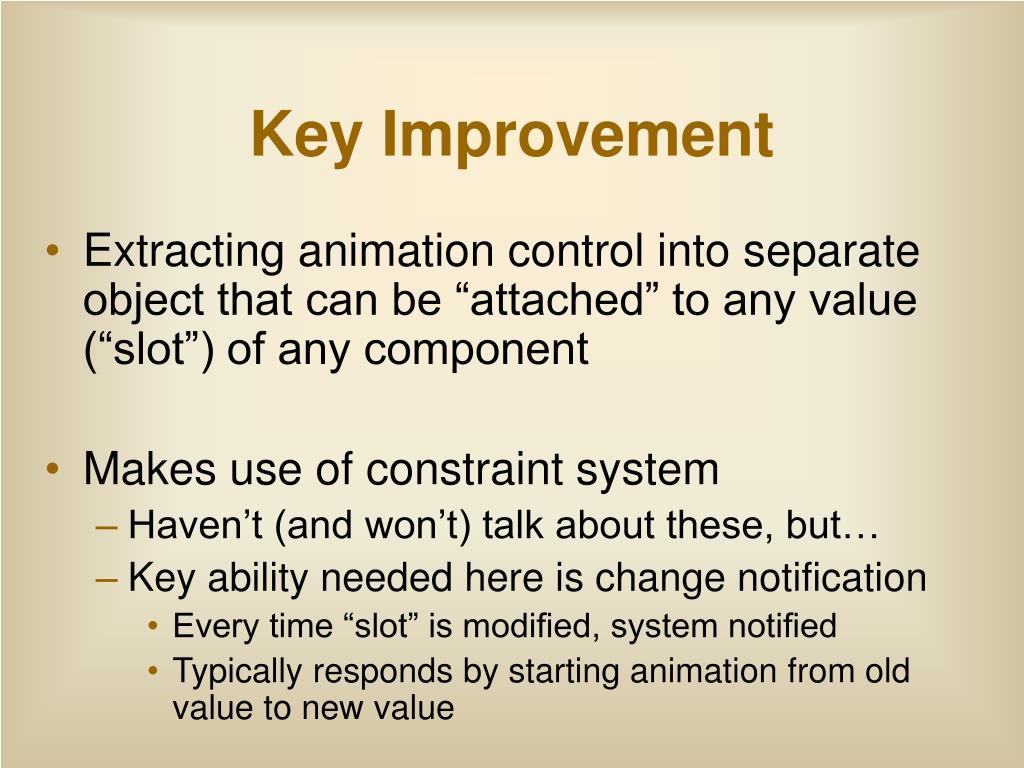 Key Improvement