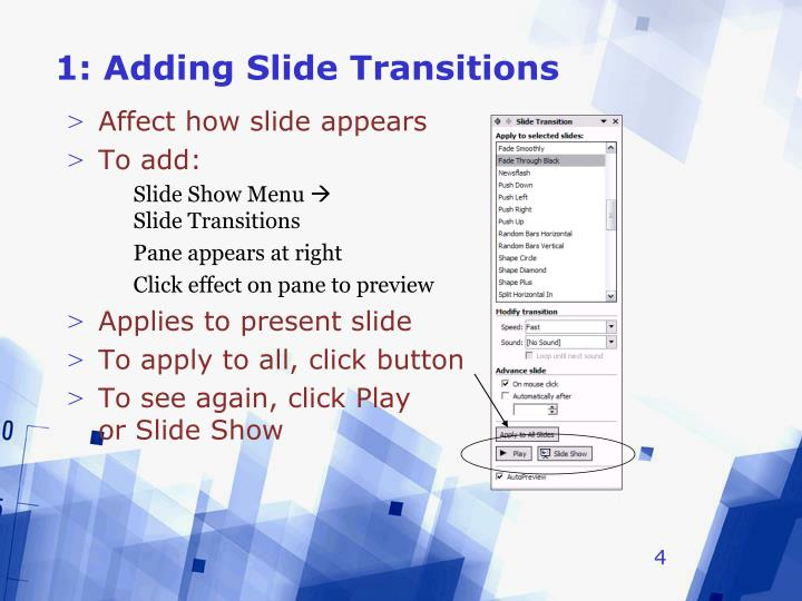 1: Adding Slide Transitions