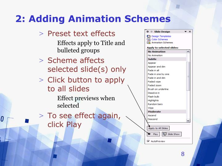 2: Adding Animation Schemes