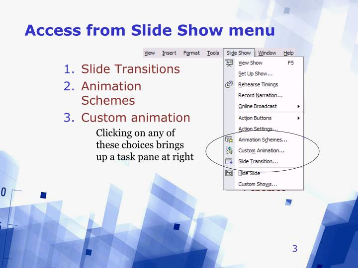 Access from slide show menu