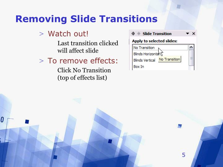 Removing Slide Transitions