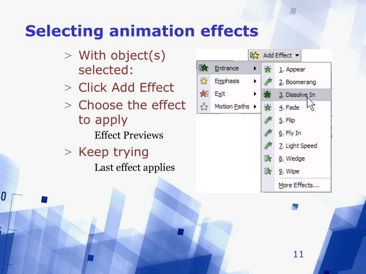 Selecting animation effects