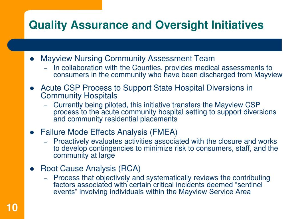 Quality Assurance and Oversight Initiatives
