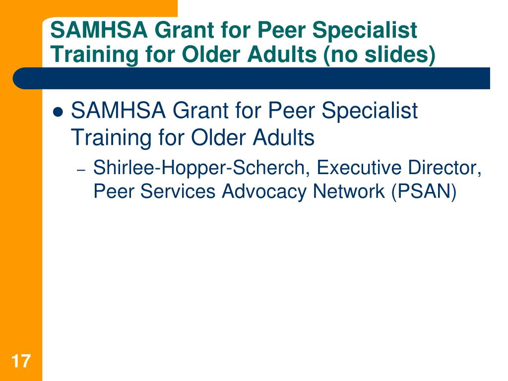 SAMHSA Grant for Peer Specialist Training for Older Adults (no slides)