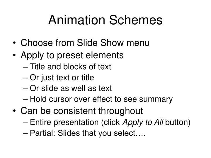 Animation schemes