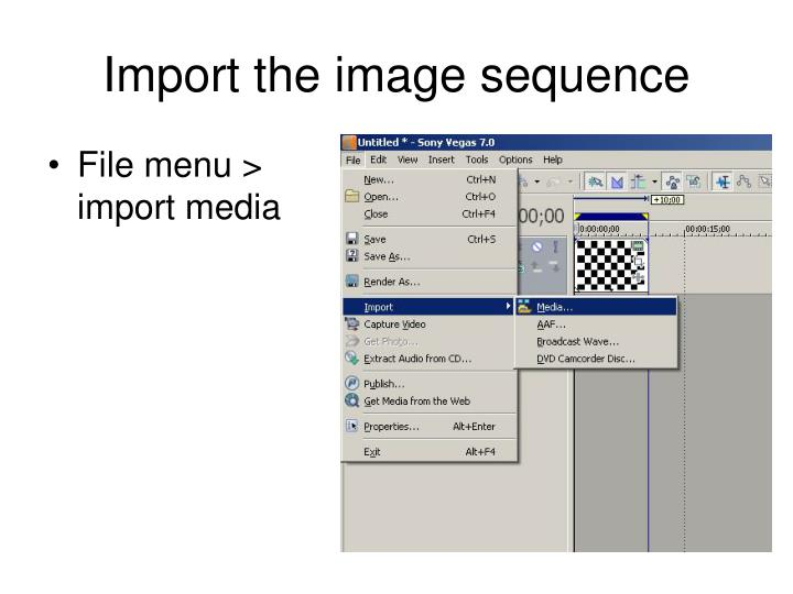 Import the image sequence