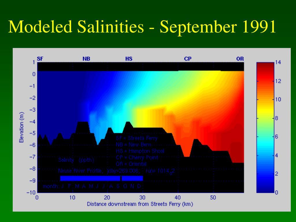 Modeled Salinities - September 1991
