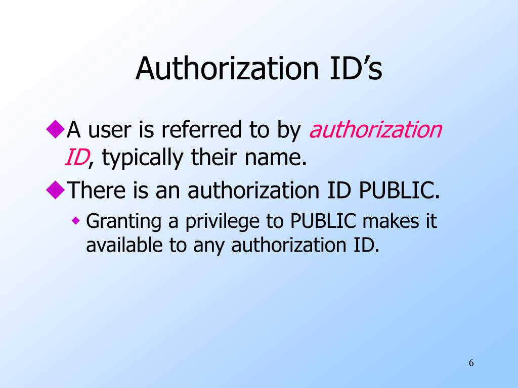 Authorization ID's