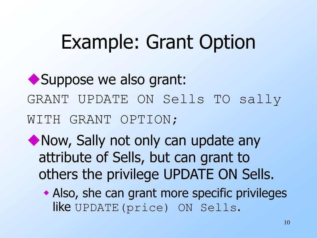 Example: Grant Option