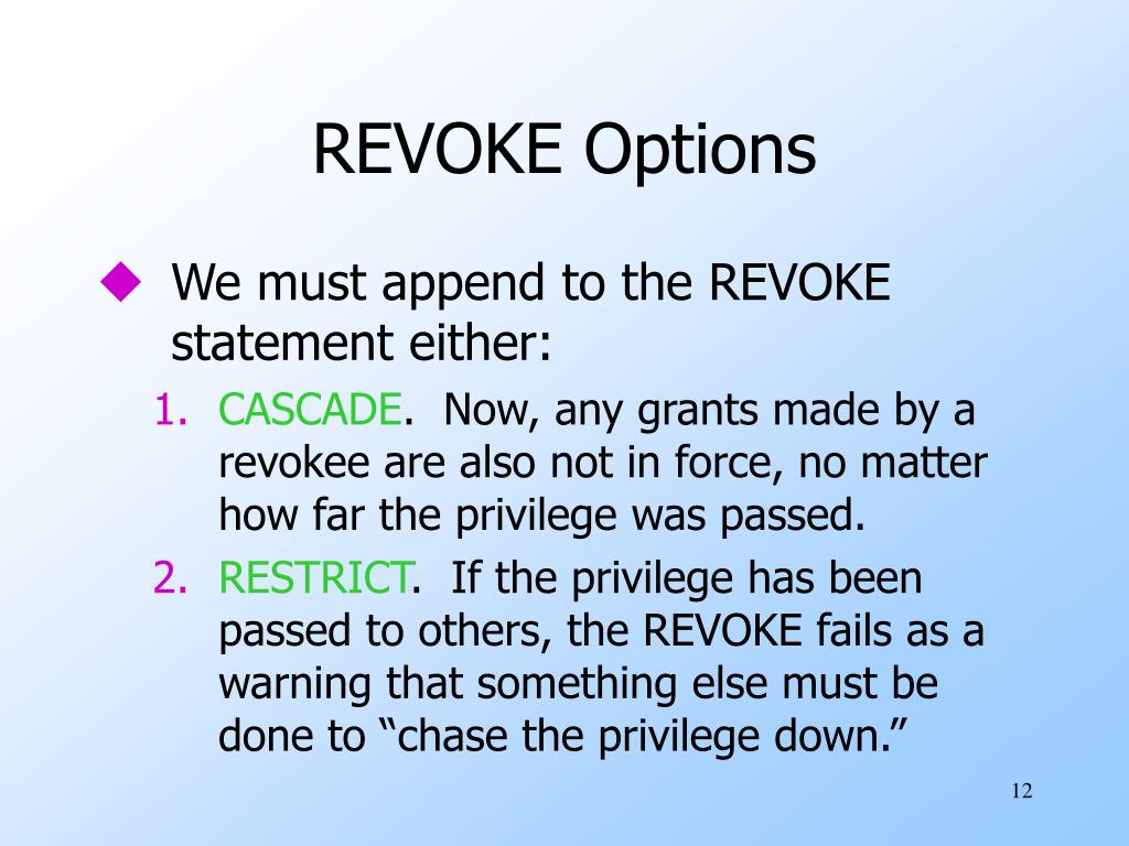 REVOKE Options