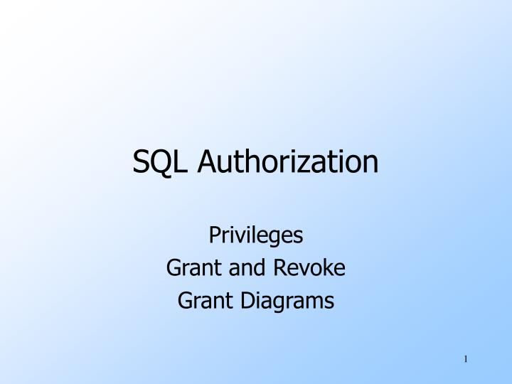 Sql authorization