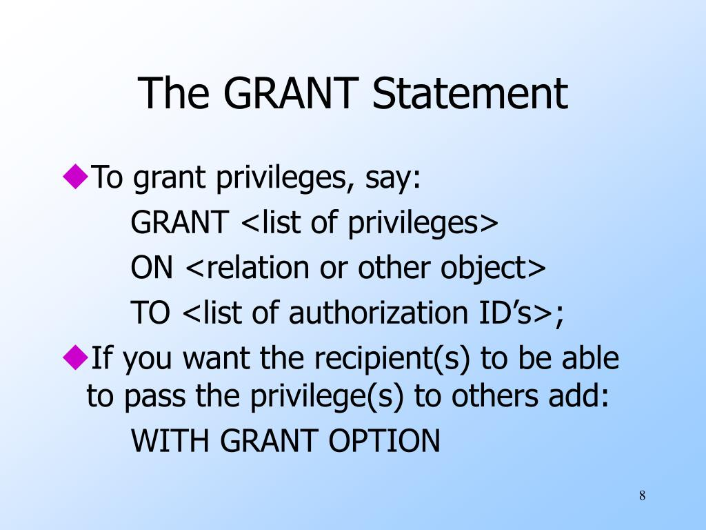 The GRANT Statement